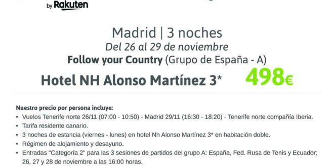 PAQUETE VIAJE COPA DAVIS MADRID DEL 26 AL 29/11